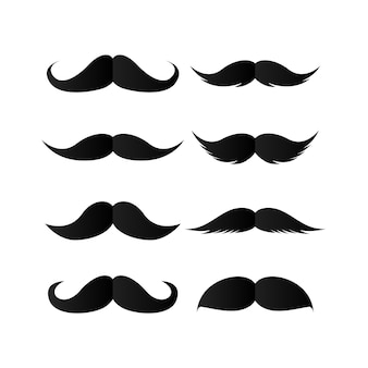 Set of mustaches. black silhouette of moustaches.