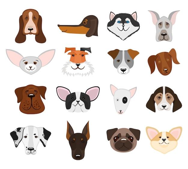 Set di museruola cani e teste pedigree cagnolino isolato su sfondo bianco.
