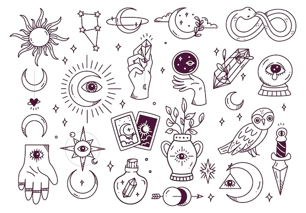 Set of mystic astronomy doodle