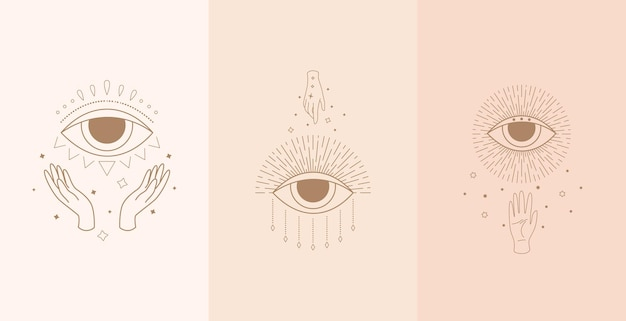 Set of mystic eyes with woman hands.  illustration in boho style