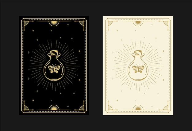 Set of mystical tarot cards alchemical doodle symbols engraving of magical pot butterfly crystals