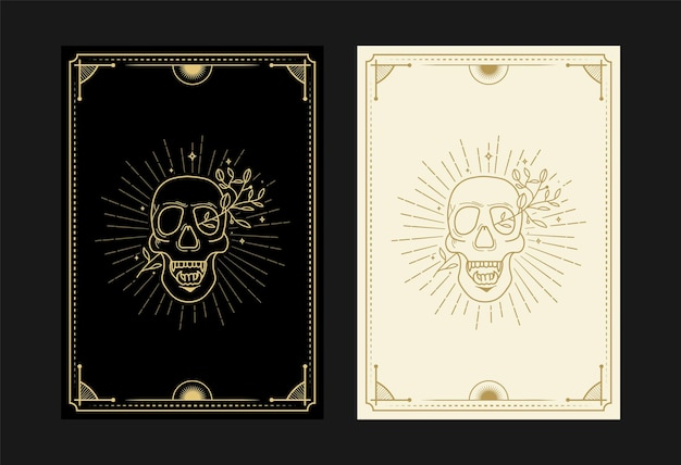 Set of mystical tarot cards alchemical doodle symbols engraving of magical skull floral rays crystal