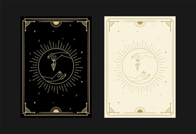 Set of mystical tarot cards alchemical doodle symbols engraving of stars diamond rays and crystals
