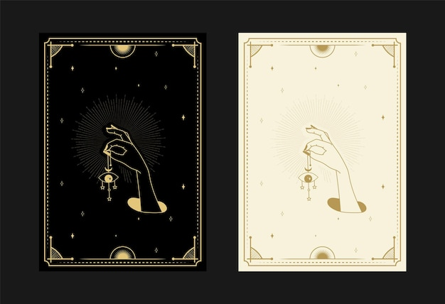 Set of mystical tarot cards alchemical doodle symbols engraving of stars magical eye and crystals