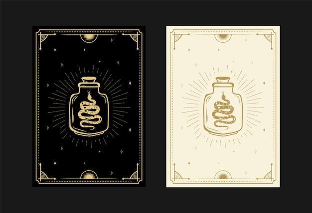 Set of mystical tarot cards alchemical doodle symbols engraving of stars magical pot snakes crystals