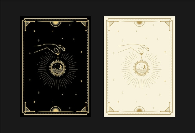 Set of mystical tarot cards alchemical doodle symbols engraving of stars moon planet and crystals