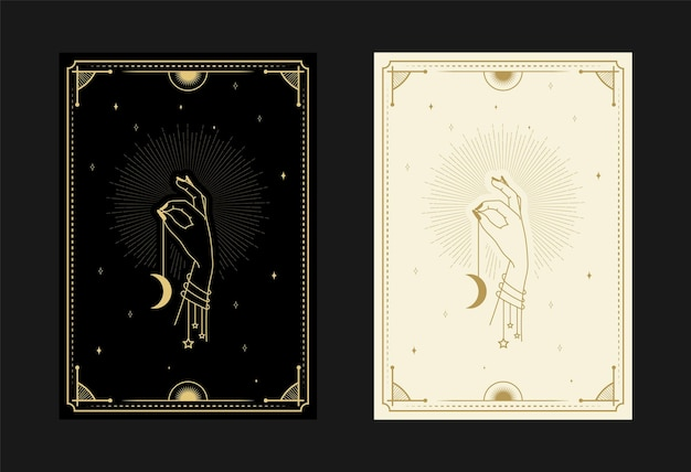 Set of mystical tarot cards alchemical doodle symbols engraving of stars moon rays and crystals