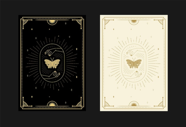 Set of mystical tarot cards alchemical doodle symbols engraving of stars moth butterfly crystals