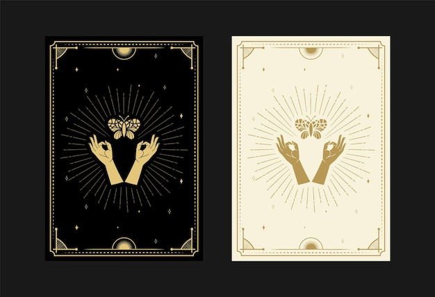 Set of mystical tarot cards alchemical doodle symbols engraving of stars ray moth butterfly crystals