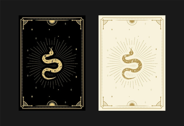 Set of mystical tarot cards alchemical doodle symbols engraving of stars rays snakes and crystals