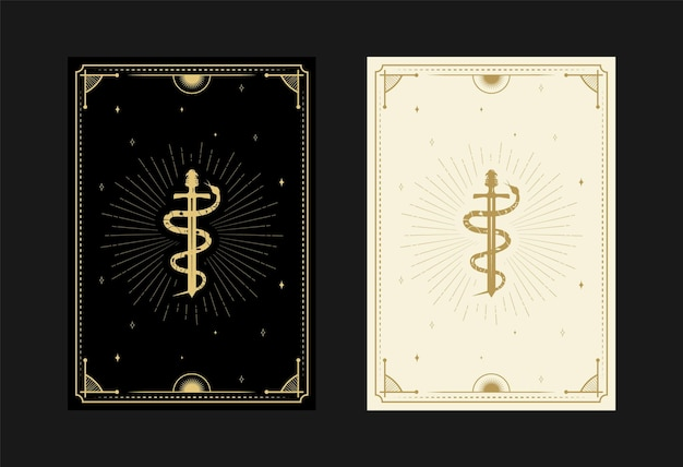 Set of mystical tarot cards alchemical doodle symbols engraving of stars sword snakes and crystals