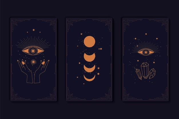 Set of mystical tarot cards elements of esoteric occult alchemical and witch symbols zodiac signs