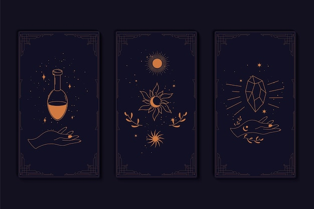 Set of mystical tarot cards elements of esoteric occult alchemical and witch symbols