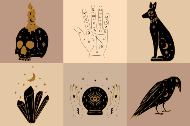 Set of mystical and witch illustrations in vector