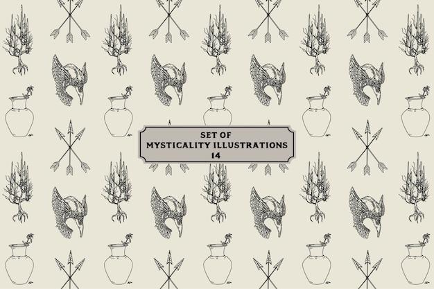 Set of mysticality illustrations