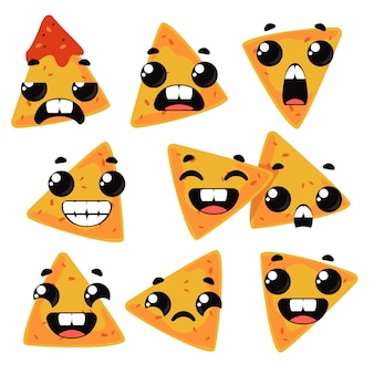 Set nachos with emotions. children s funny clipart. vector illustration in cartoon style fun