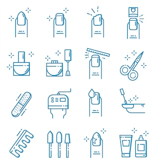 Set of nail salon icons with outline style
