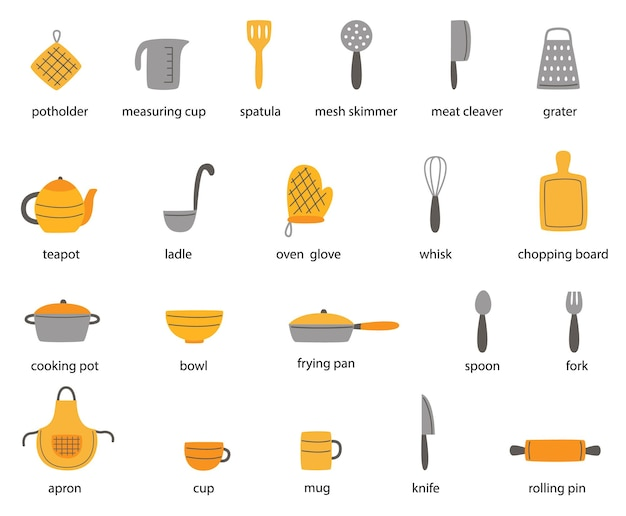 Set of named kitchen tools in english. collection of   illustrations. Premium Vector