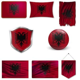 Set of the national flag of albania