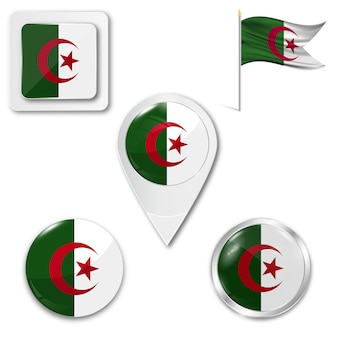 Set of the national flag of algeria