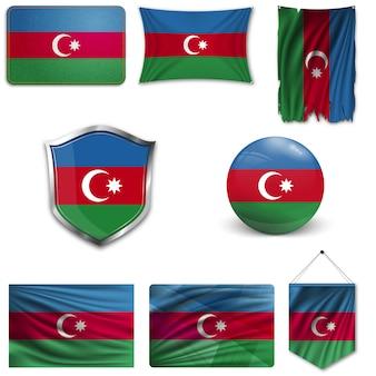 Set of the national flag of azerbaijan