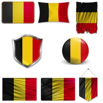 Set of the national flag of belgium