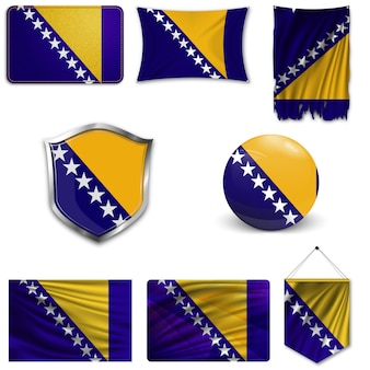 Set of the national flag of bosnia and herzegovina