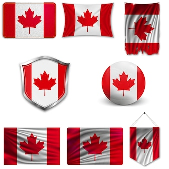 Set of the national flag of canada