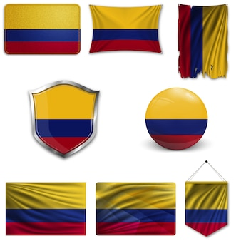 Set of the national flag of colombia