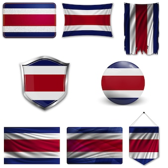 Set of the national flag of costa rica