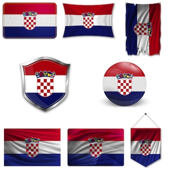 Set of the national flag of croatia