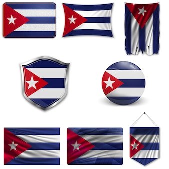 Set of the national flag of cuba