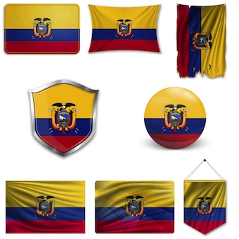 Set of the national flag of ecuador
