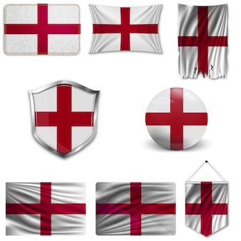 Set of the national flag of england