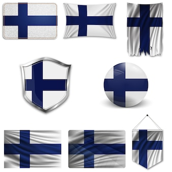 Set of the national flag of finland