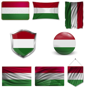Set of the national flag of hungary