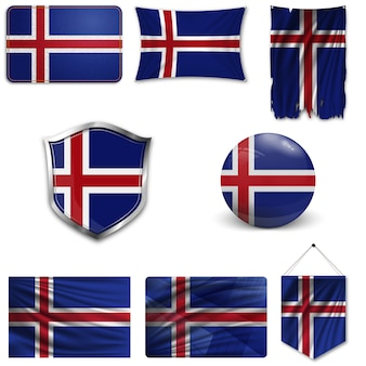 Set of the national flag of iceland