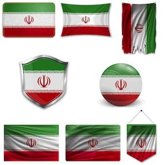 Set of the national flag of iran
