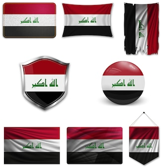 Set of the national flag of iraq