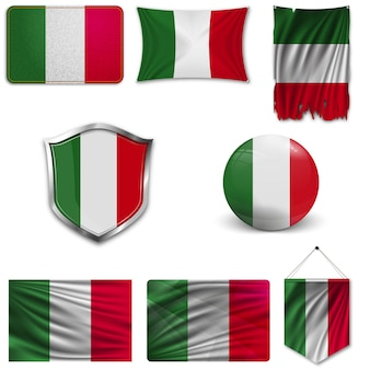 Set of the national flag of italy