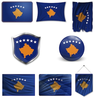 Set of the national flag of kosovo