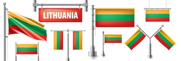 Set della bandiera nazionale della lituania in vari design creativi.