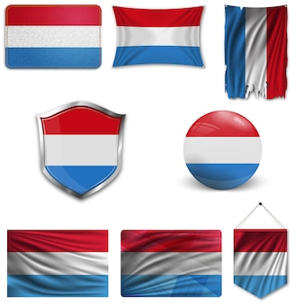 Set of the national flag of luxembourg