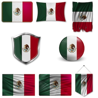 Set of the national flag of mexico