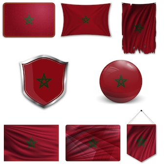Set of the national flag of morocco