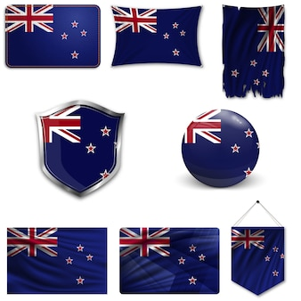 Set of the national flag of new zealand