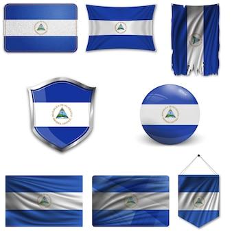 Set of the national flag of nicaragua
