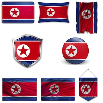 Set of the national flag of north korea