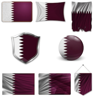 Set of the national flag of qatar
