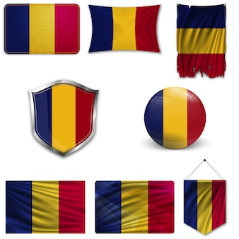 Set of the national flag of romania